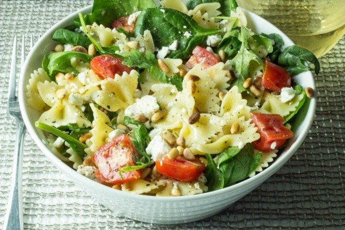 Farfalle Pasta with Fresh Spinach, Arugula, Tomatoes, Feta and Pinenuts