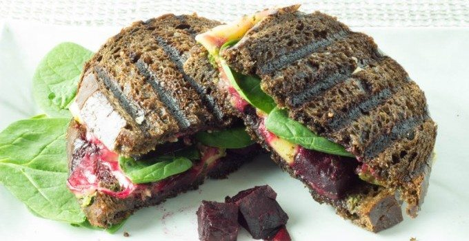 Melted Gouda Panini with Roasted Beets and Pesto
