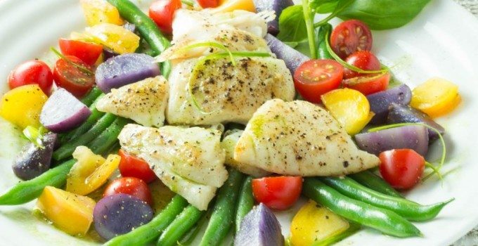 Pan Seared Halibut with Fresh Seasonal Vegetables