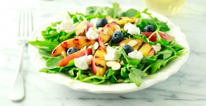 Grilled Nectarine and Chevre Salad with Honey Fig vinaigrette