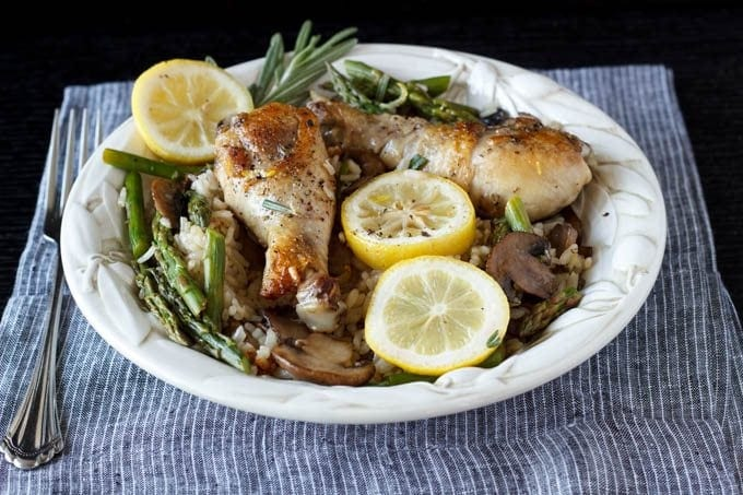 One Pot Tuscan Lemon Chicken and Rice