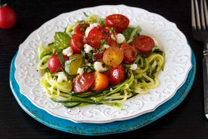 Zucchini Noodles with Heirloom Tomatoes and Feta - Simple Healthy ...