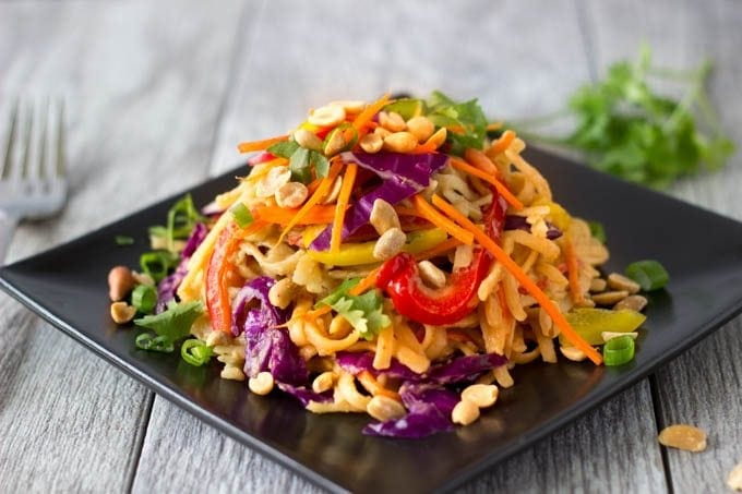 One Pot Spicy Peanut Noodles with Veggies