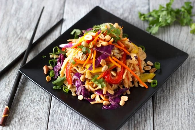 one pot spicy peanut noodles and veggies