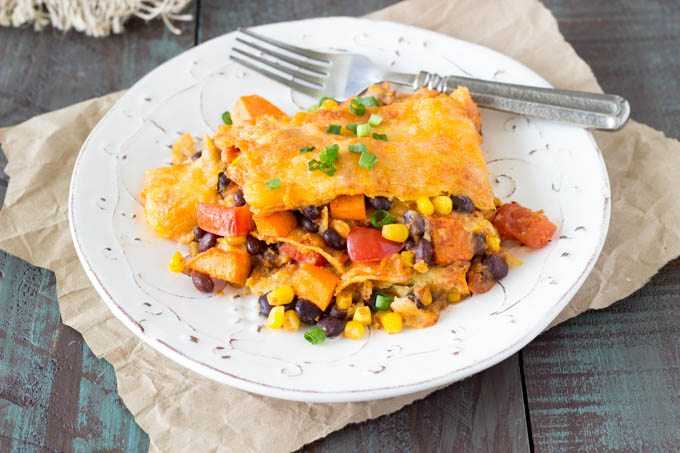 crockpot black bean sweet potato enchiladas-featured-simplehealthykitchen.com