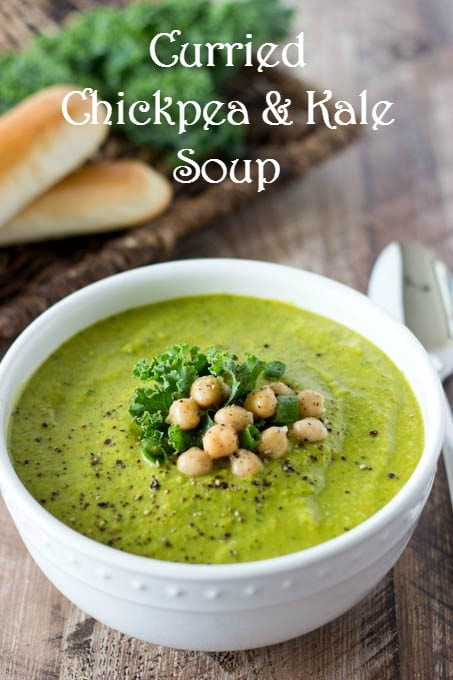 curried chickpea and kale soup pinterest with text