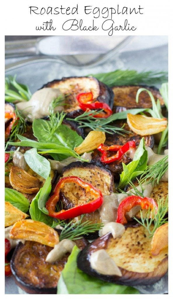Roasted Eggplant with Black Garlic  via SimpleHealthyKitchen.com