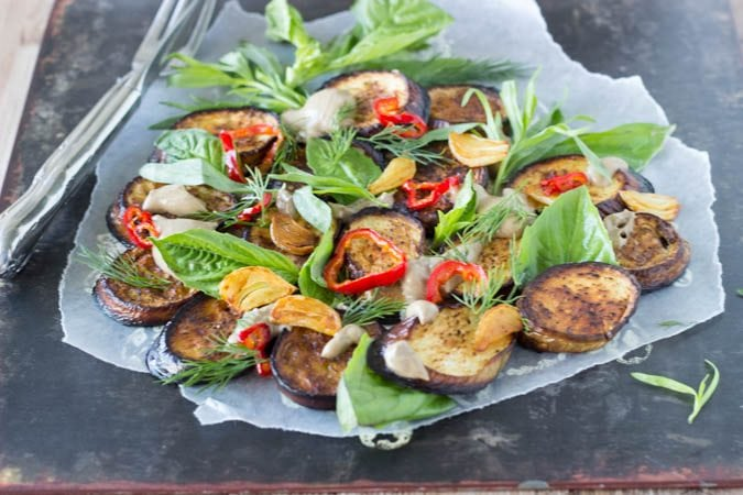 eggplant with black garlic yogurt sauce - simplehealthykitchen.com