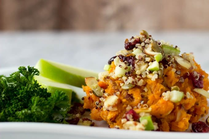 mashed maple sweet potatoes and fall quinoa