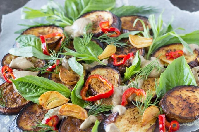 roasted eggplant with black garlic - simplehealthykitchen.com
