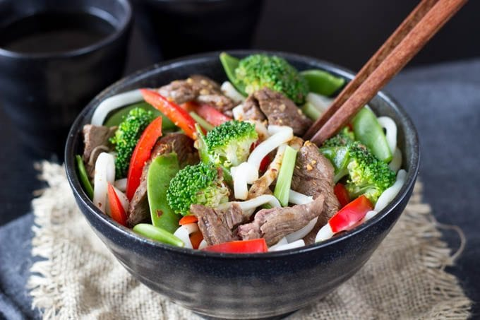 shanghai  beef and broccoli with noodles