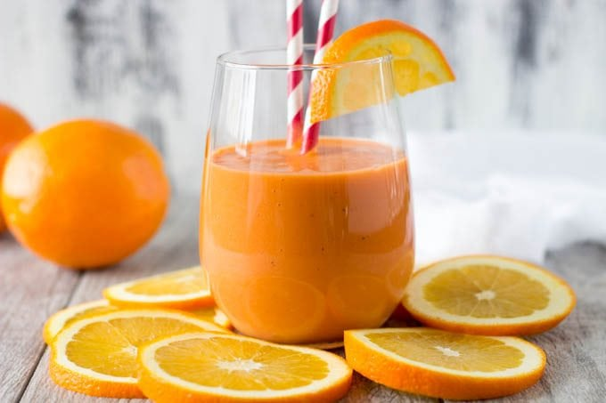 orange stress buster smoothie - simplehealthykitchen.com
