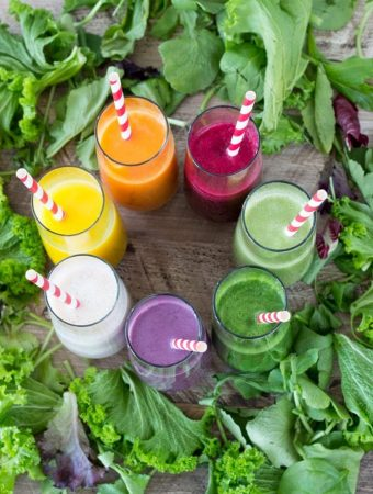 Rainbow Colored Smoothies | SimpleHealthyKitchen.com