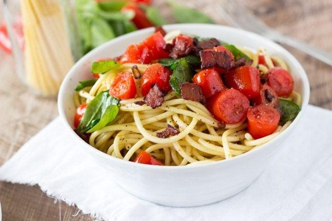 BLT Pasta-simplehealthykitchen.com #pasta #blt #tomato-1