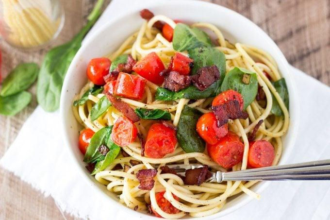 BLT Pasta-simplehealthykitchen.com #pasta #blt #tomato #bacon-1