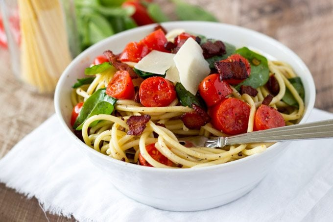 BLT Pasta-simplehealthykitchen.com #pasta #blt #tomato#spina..