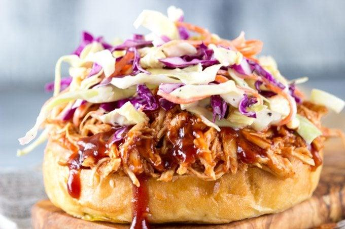 Crockpot BBQ Chicken sandwich openface-simplehealthykitchen.com pinterest (1 of 1)