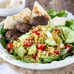 Mediterranean Quinoa Salad with Spiced Mini Burgers
