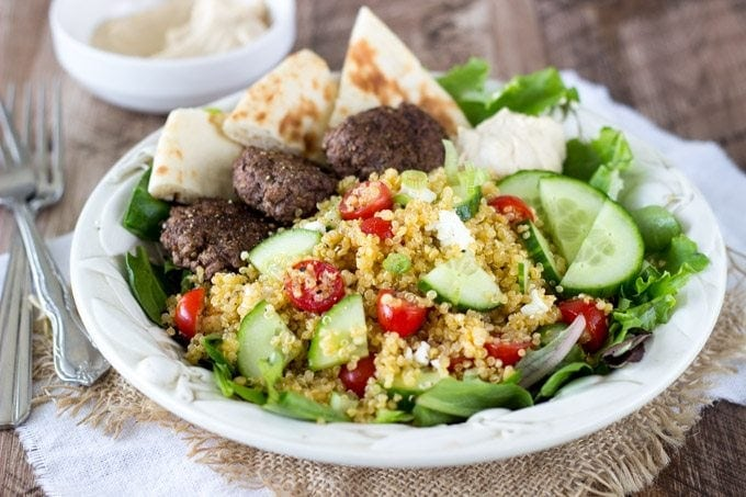 Mediterranean Quinoa Salad with Spiced Mini Burgers - Simple Healthy ...