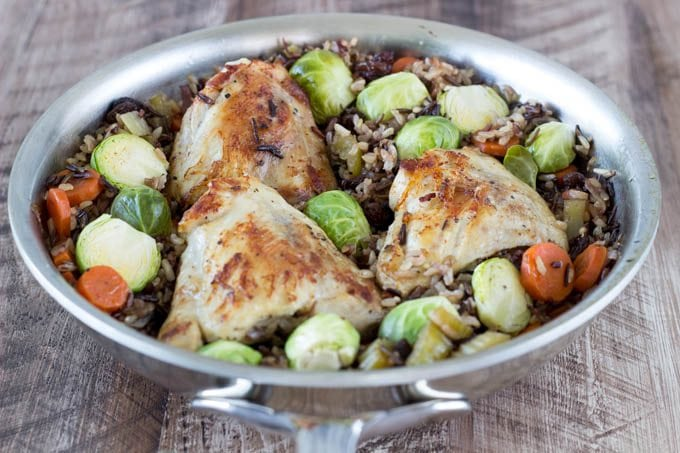 skillet chicken and veggies - simplehealthykitchen.com # brussels sprouts