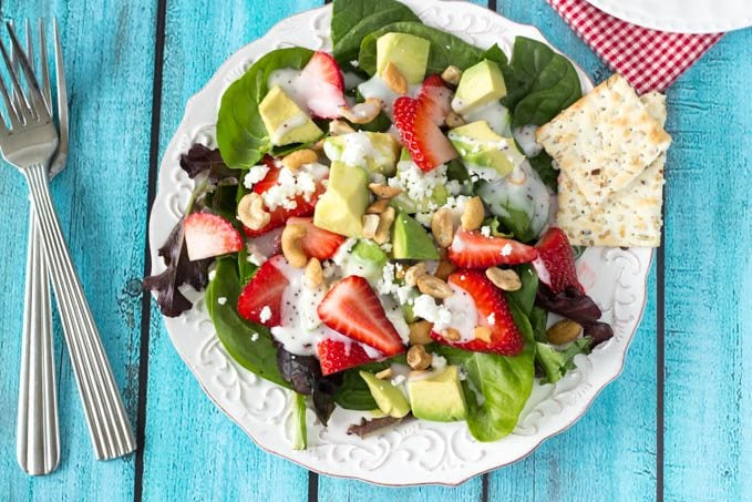 strawberry avocado and feta salad - simplehealthykitchen.com # summer (1 of 1)