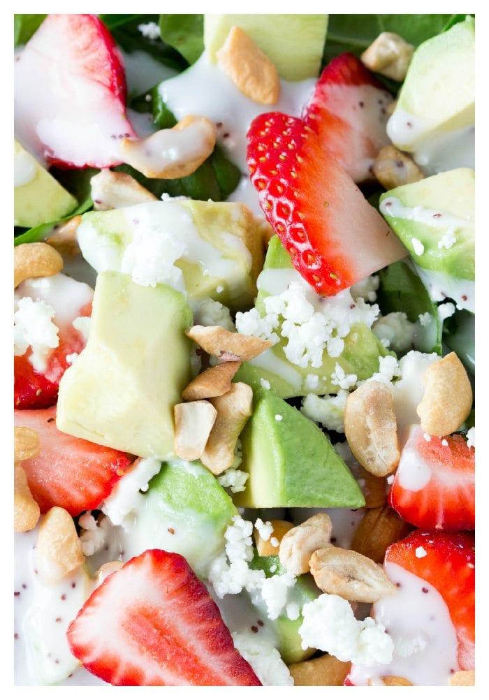 strawberry avocado and feta salad