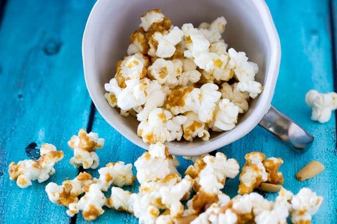 thai peanut popcorn- simplehealthykitchen.com #snack