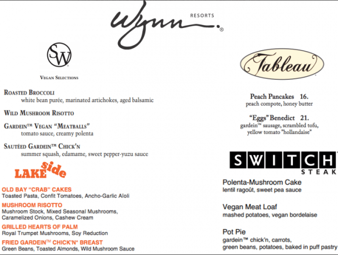Wynn vegetarian menu