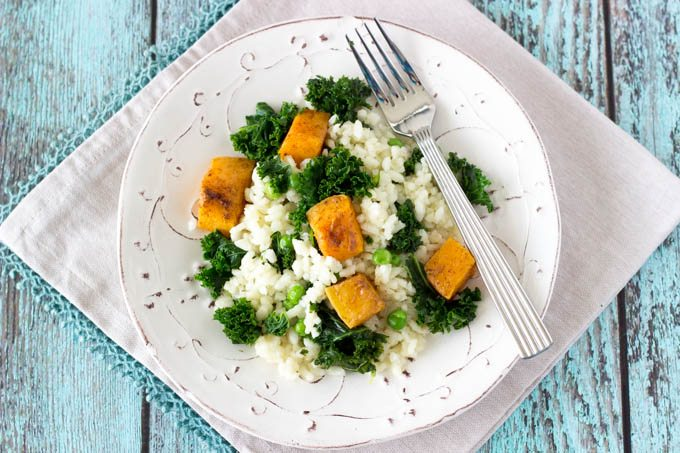 risotto with butternut squash and kale -simplehealthykitchen.com