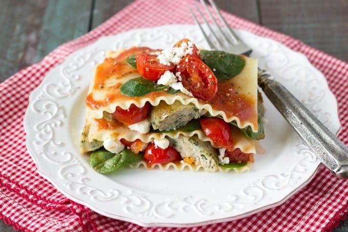 no bake tomato basil and feta lasagna- simplehealthykitchen.com # lasagna #Italian
