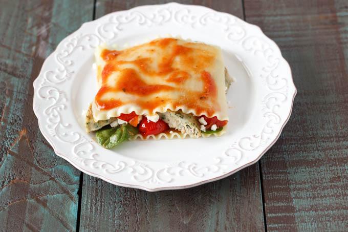 second layer no bake lasagna- simplehealthykitchen.com