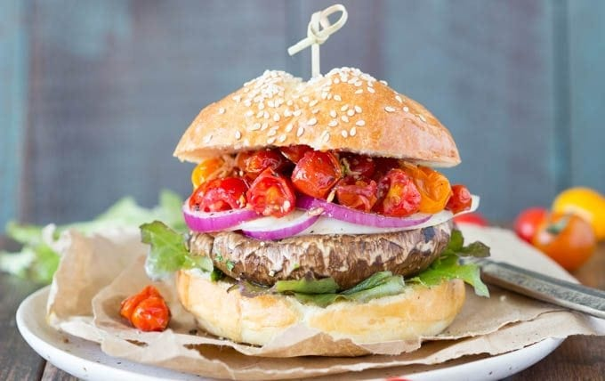 portobello burgers with balsamic tomatoes- featured - SimpleHealthyKitchen.com