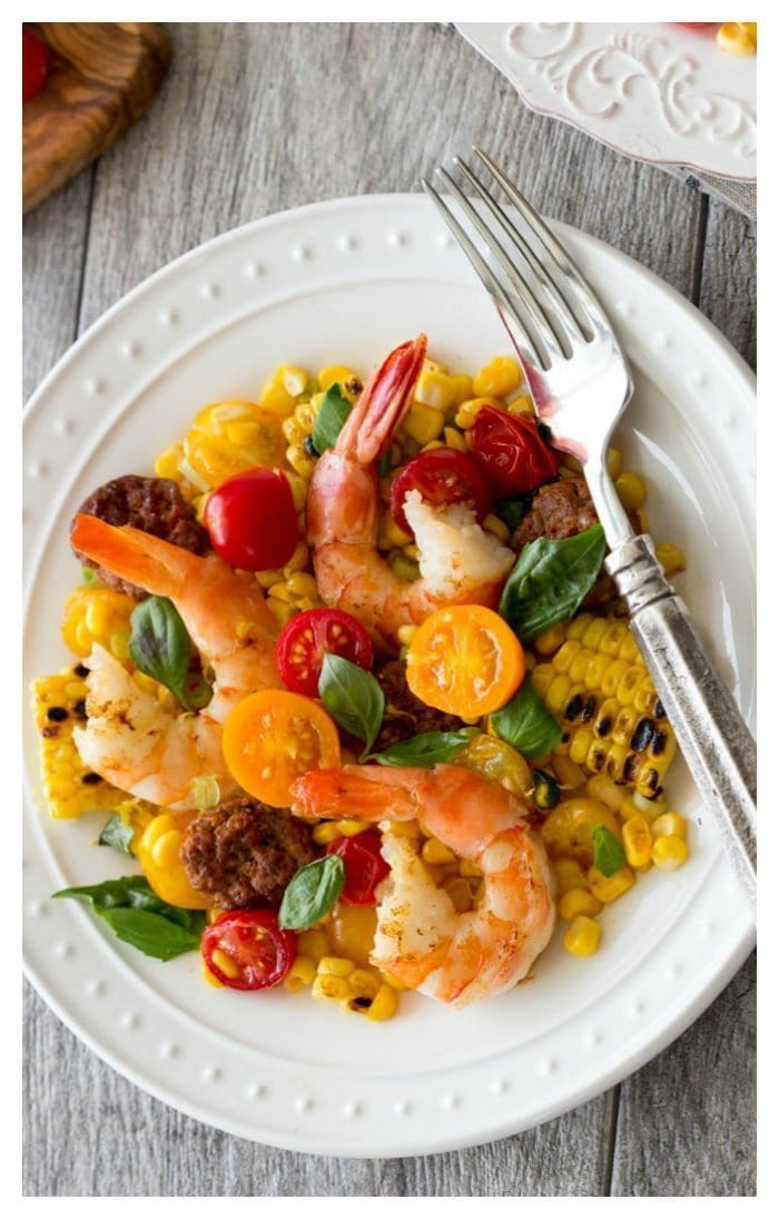 shrimp and grilled corn with chorizo