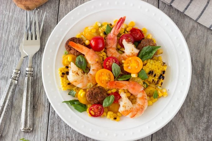 shrimp with grilled corn and chorizo 2 - SimpleHealthyKitchen.com