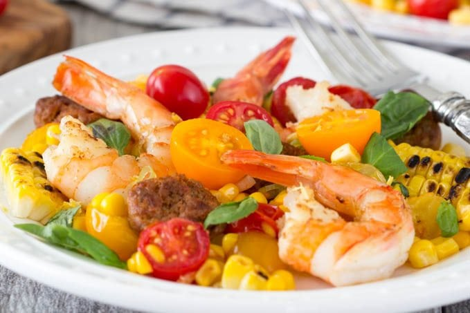 shrimp with grilled corn and chorizo 3 - SimpleHealthyKitchen.com