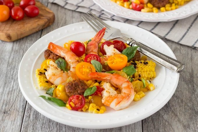 shrimp with grilled corn and chorizo FG - SimpleHealthyKitchen.com