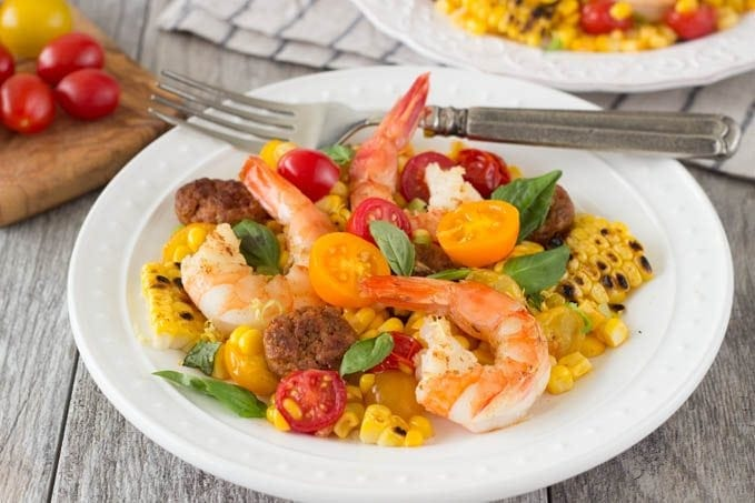 shrimp with grilled corn and chorizo featured- SimpleHealthyKitchen.com