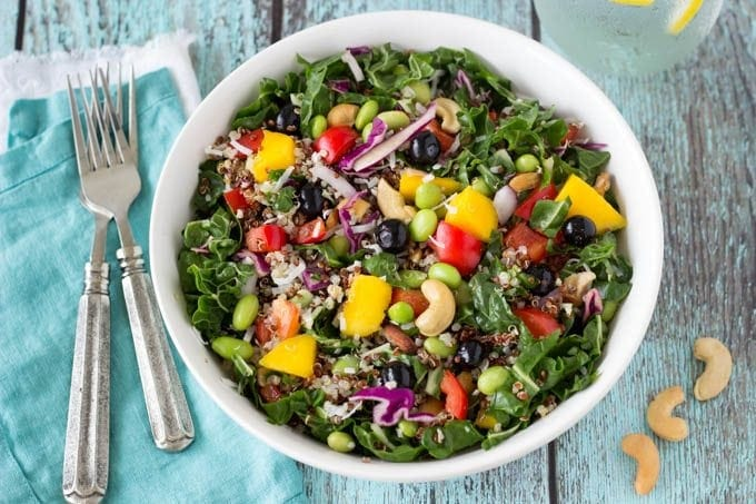 superfoods power salad- Simplehealthykitchen.com # quinoa # blueberries