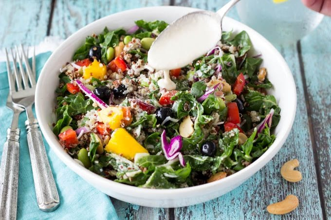 superfoods power salad with creamy cashew dressing- Simplehealthykitchen.com # quinoa # blueberries