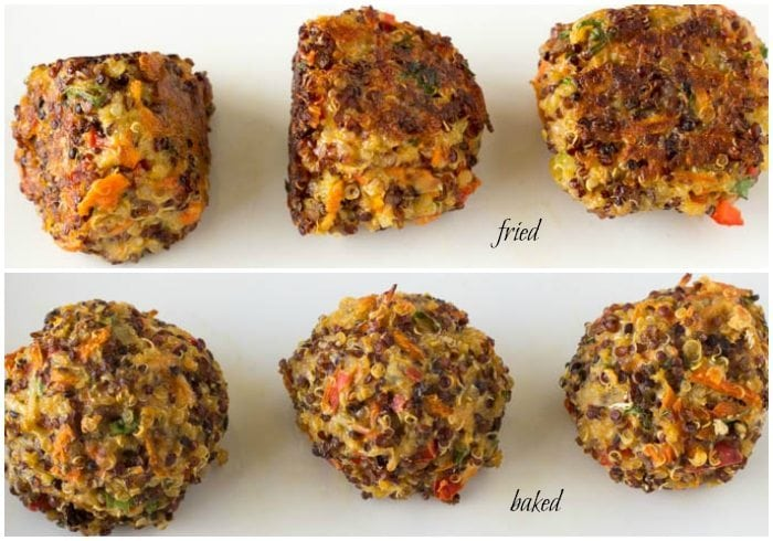 fried vs baked quinoa meatballs