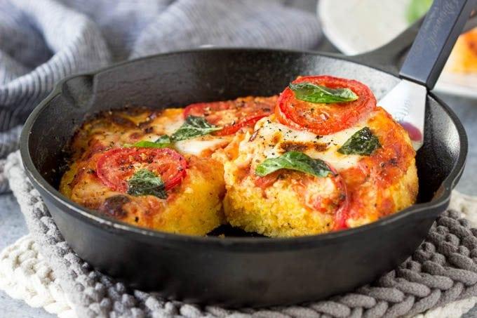 skillet margarita polenta pizza 2 -SimpleHealthyKitchen.com
