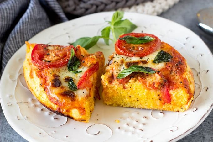 One Pan Skillet Margherita Polenta Pizza
