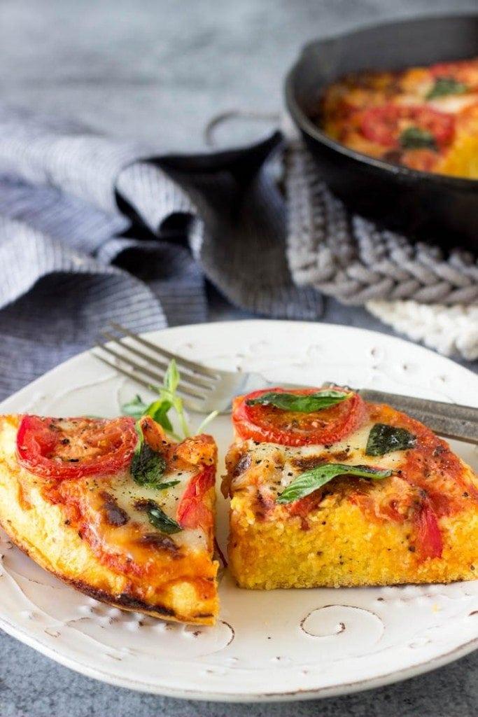 Vegan Skillet Margherita Polenta Pizza