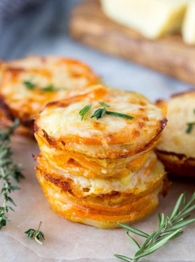 Two Cheese Scalloped Potato Stacks Simple Healthy Kitchen