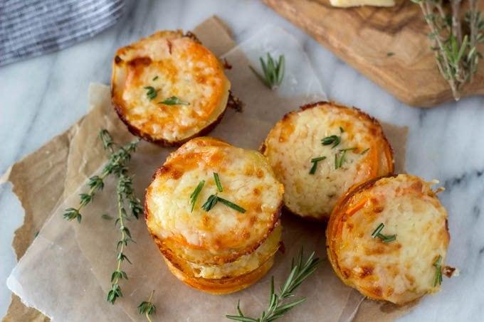 Sweet Potato Two Cheese Scalloped Potato Stacks