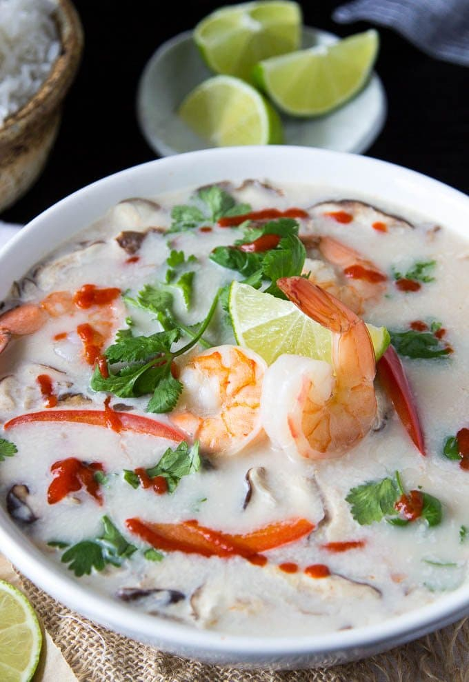 Thai Coconut Soup With Shrimp Tom Kha Goong Simple