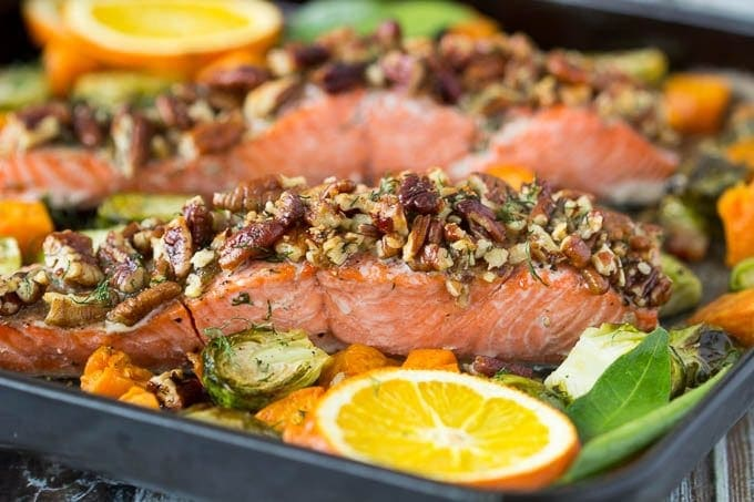 See how easy this pecan crusted oven baked salmon is? Everything goes ...
