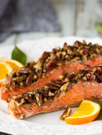 Sheet Pan Pecan Crusted Roasted Salmon