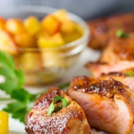 Spice rubbed pork tenderloin with chunky applesauce