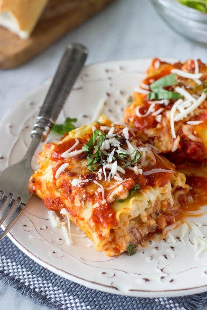 Spinach Artichoke Lasagna Roll -ups